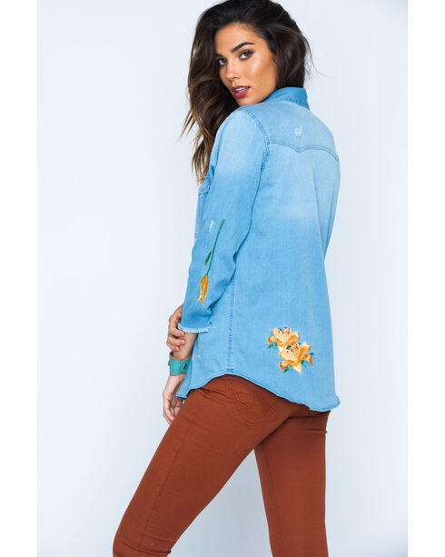 MI. OH. MI. Women's Embroidered Denim Shirt, Indigo, hi-res