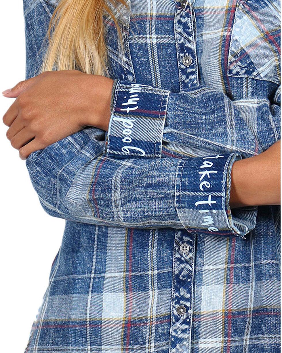 White Crow Women's Good Things Take Time Plaid Long Sleeve Shirt, , hi-res