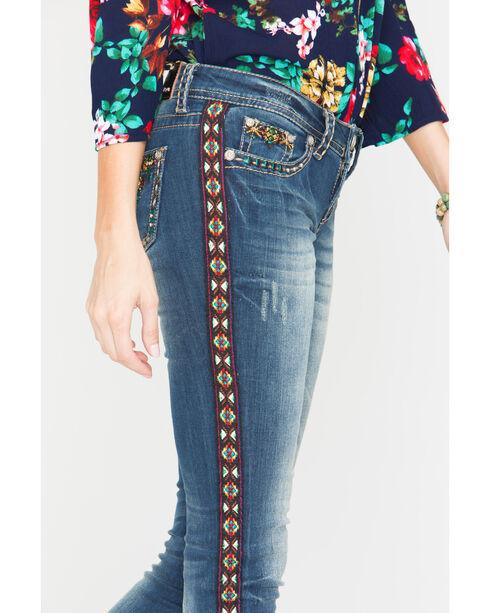 Grace in LA Women's Boho Trim Straight Leg Jeans, Indigo, hi-res