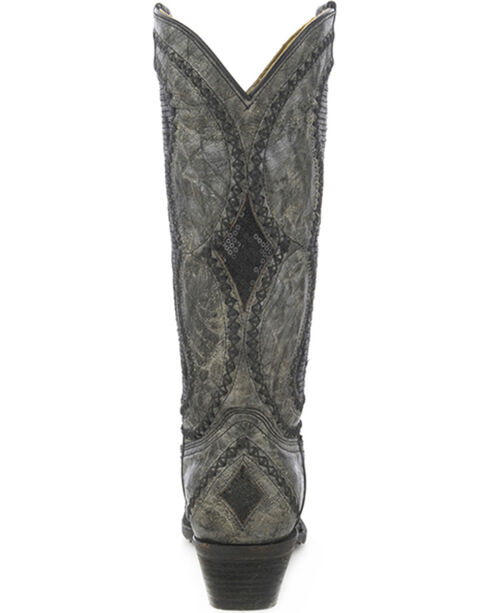 Corral Women's Diamond Inlay Western Boots, Black, hi-res