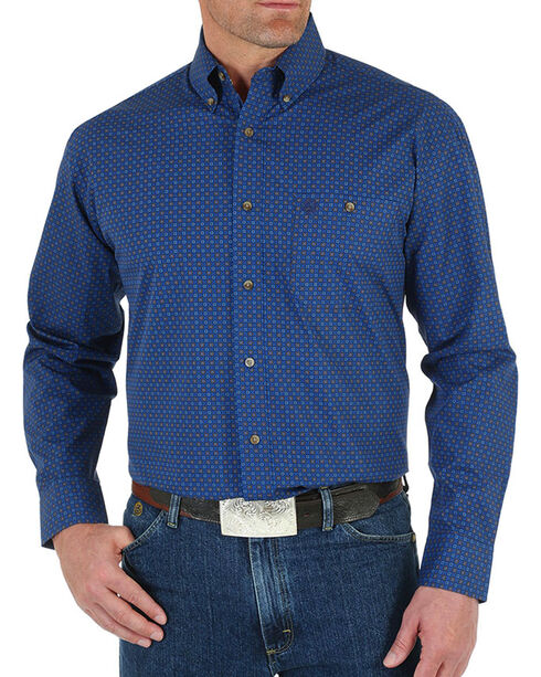 Wrangler George Strait Men's Blue Geometric Print Long Sleeve Shirt, Blue, hi-res
