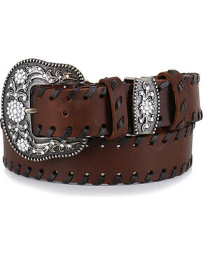 Shyanne® Women's Brown Lace Stitched Belt , Brown, hi-res