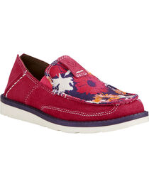 Ariat Youth Girl's Pink Flower Print Cruiser Shoes - Moc Toe, , hi-res