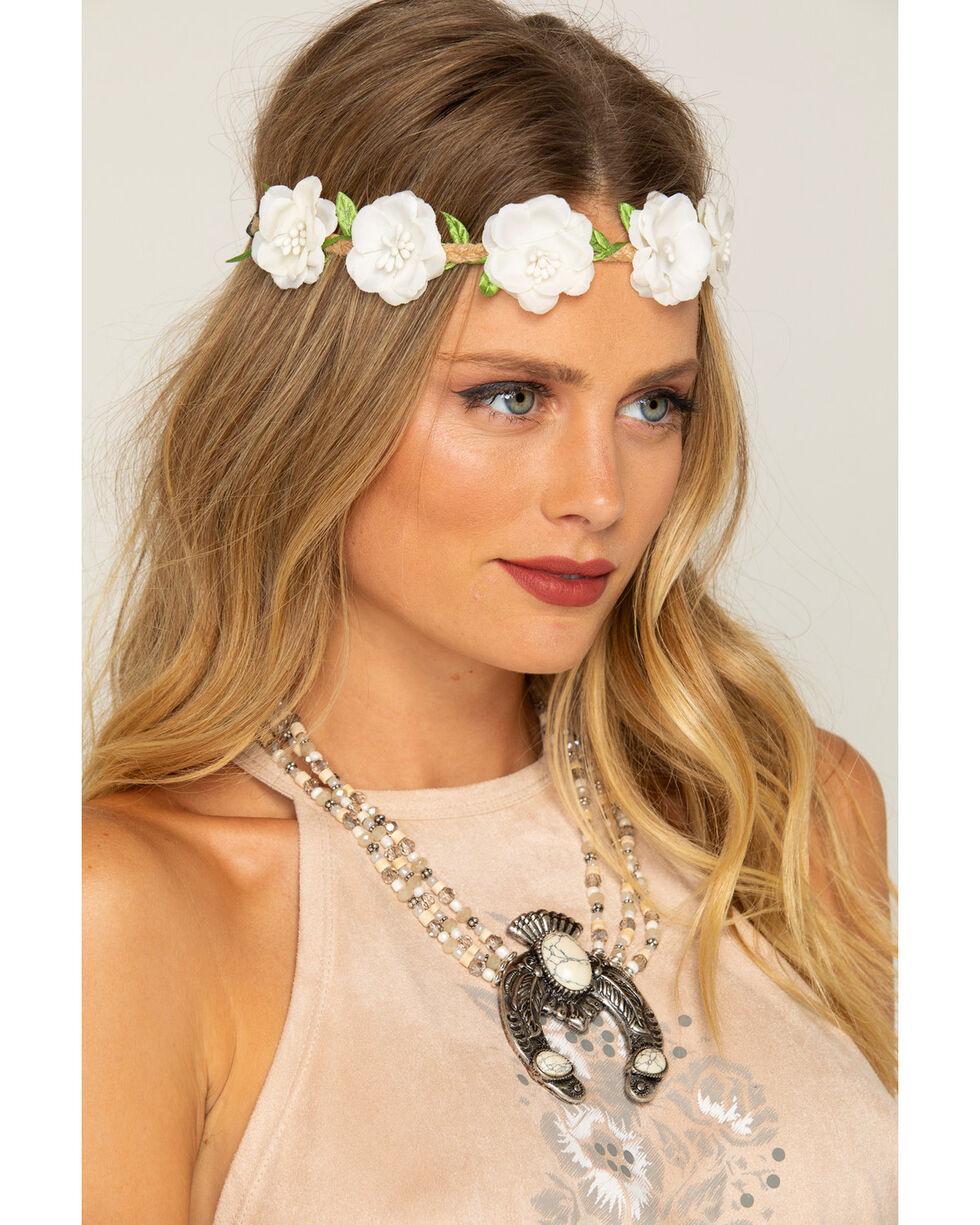 Shyanne Women's Small White Flower Wreath Headband, White, hi-res