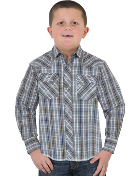 Wrangler Boys' Navy Western Snap Plaid Shirt , Navy, hi-res