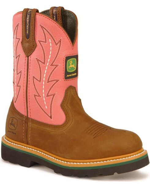 John Deere Infants' Pull-On Western Boots, Pink, hi-res