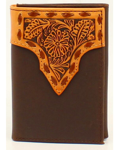 Nocona Stitched Leather Floral Embossed Tri-Fold Wallet, Tan, hi-res