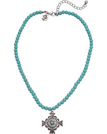 West & Co. Women's Turquoise Bead Cross Charm Necklace, , hi-res