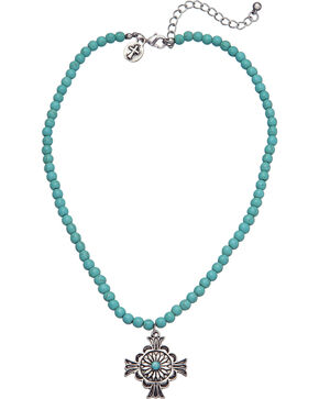 West & Co. Women's Turquoise Bead Cross Charm Necklace, Turquoise, hi-res