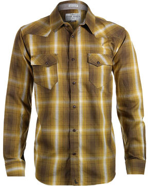 Cody James Men's 8 Seconds Plaid Long Sleeve Shirt, Gold, hi-res