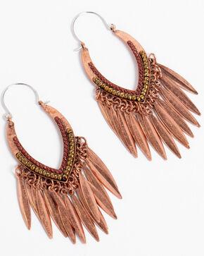Shyanne Women's Texas Rose Fringe Statement Earrings, Rust Copper, hi-res