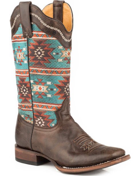 Roper Women's Brown Printed Aztec Design Western Boots - Square Toe , Brown, hi-res