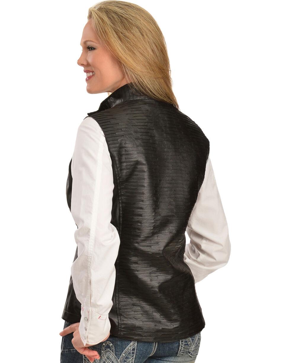 Erin London Women's Black Faux Leather Pleated Vest, , hi-res