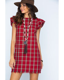 Ces Femme Women's Red Plaid Ruffle Sleeve Dress, , hi-res