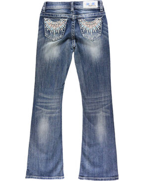 Grace In LA Girls' Embroidered Feather Boot Cut Jeans, Blue, hi-res