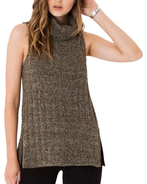 Others Follow Women's Turtleneck Sleeveless Top, Charcoal, hi-res