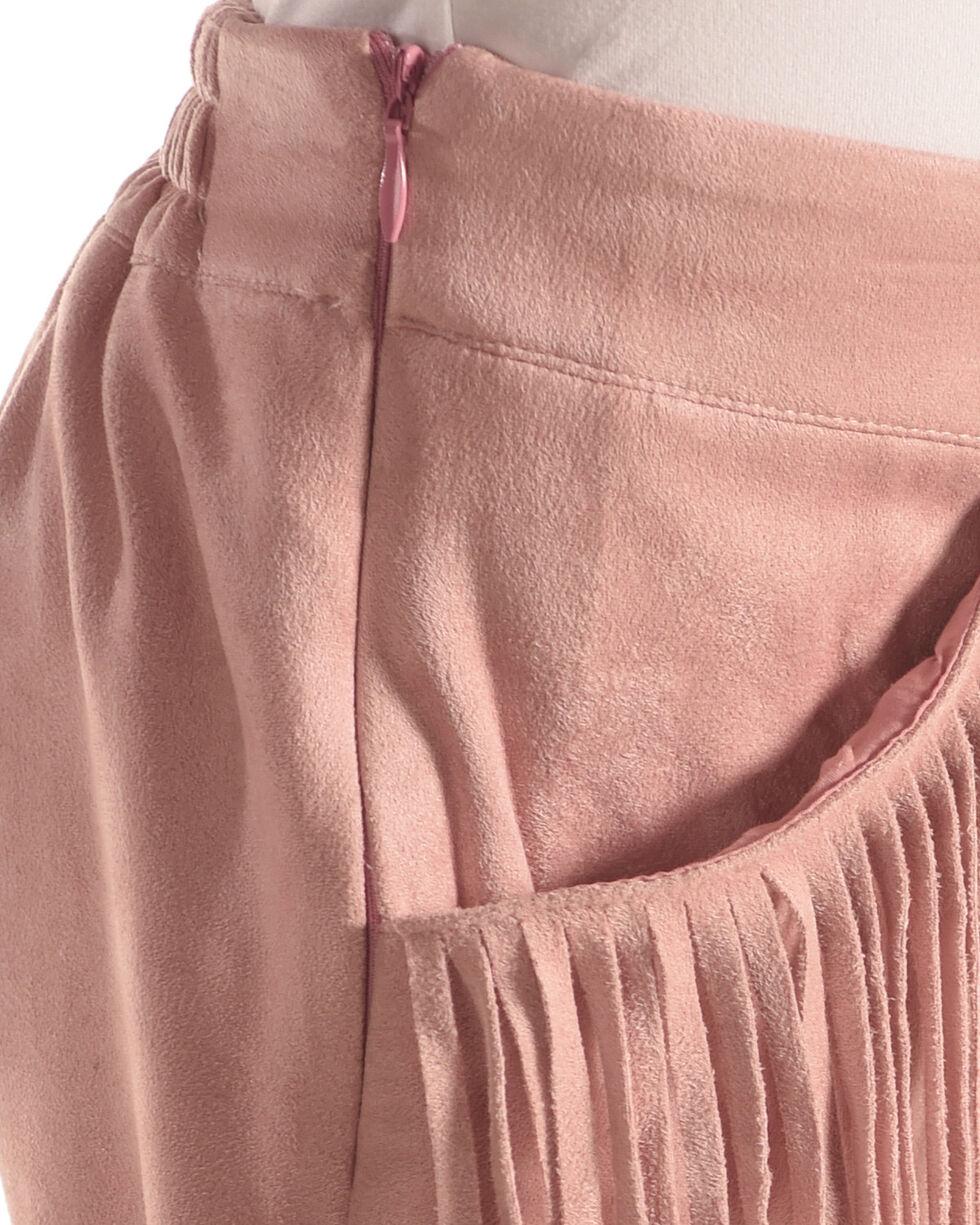 Idol Mind Girls' Faux Suede Fringe Shorts, Pink, hi-res