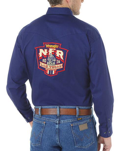 Wrangler Men's NFR Embroidered Long Sleeve Shirt, Navy, hi-res