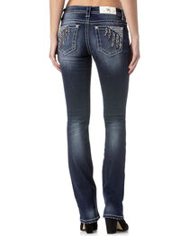 Miss Me Women's Indigo Feather Pocket Slim Fit Jeans - Boot Cut , , hi-res