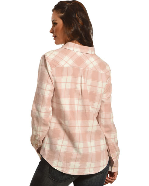 Shyanne Women's Blush Lace Placket Flannel Shirt, Blush, hi-res