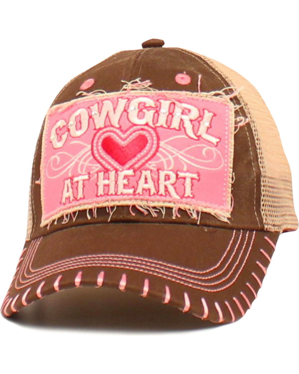 "Blazin Roxx Girls' ""Cowgirl at Heart"" Cap, Brown, hi-res"