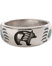 Silver Legends Turquoise Bear Paw Ring, , hi-res