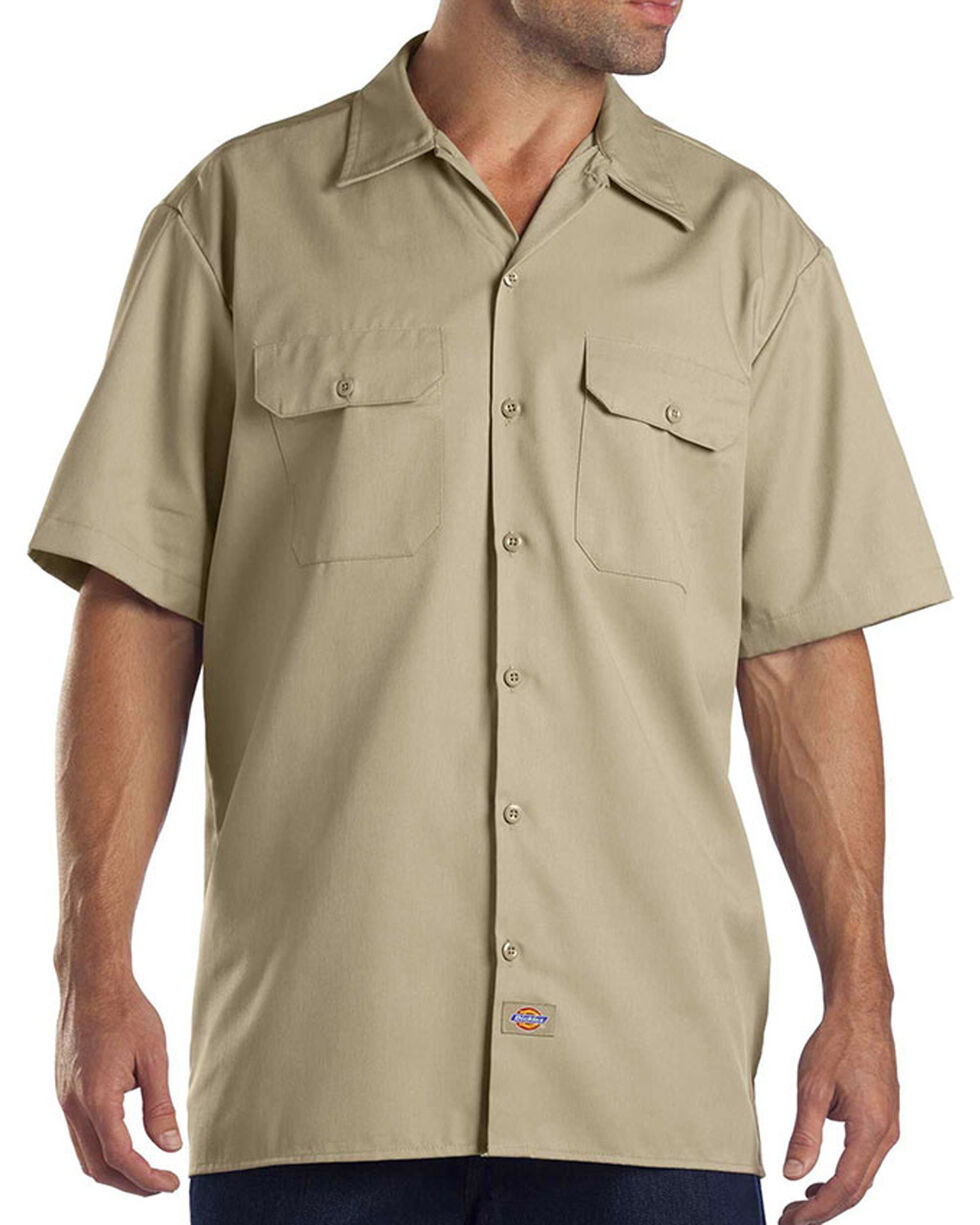 Dickies Men's Khaki Short Sleeve Work Shirt - Big, Beige/khaki, hi-res