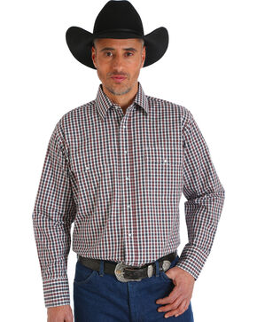 Wrangler Men's Wrinkle Resistant Brown Plaid Western Snap Shirt - Big & Tall, Brown, hi-res