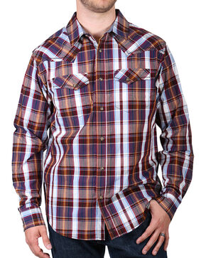 Cody James Men's Saddle Long Sleeve Plaid Western Shirt, Blue, hi-res