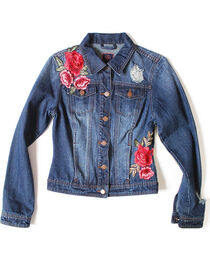 Boom Boom Jeans Women's Stone Wash Floral Rose Applique Denim Jacket, , hi-res