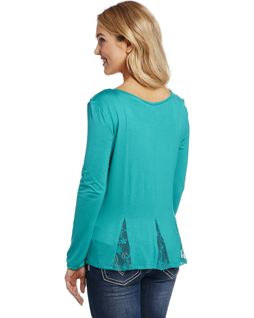 Cowgirl Up Women's Turquoise Scoop Neck Henley Shirt , Turquoise, hi-res