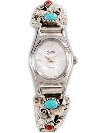 Handmade Turquoise & Coral Stone Embellished Watch, , hi-res