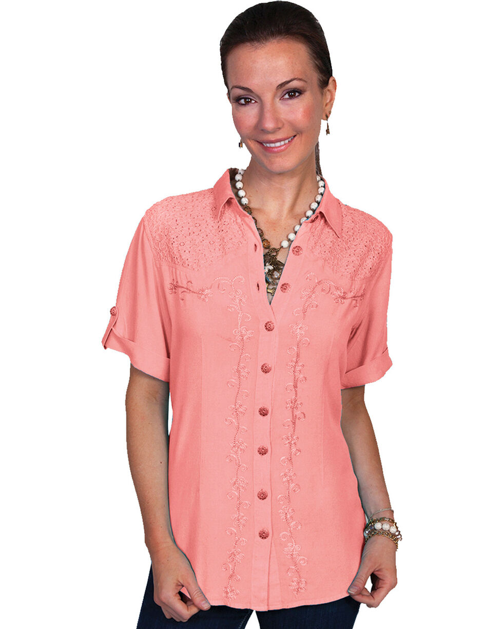 Scully Women's Short Sleeve Lace Embroidered Blouse, Coral, hi-res