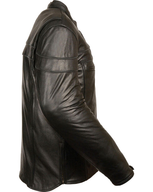 Milwaukee Leather Men's Black Sporty Scooter Crossover Jacket - Big - 3X, Black, hi-res