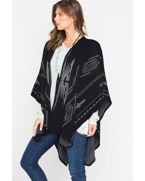 Shyanne Women's Aztec Black Blanket Scarf, Black, hi-res