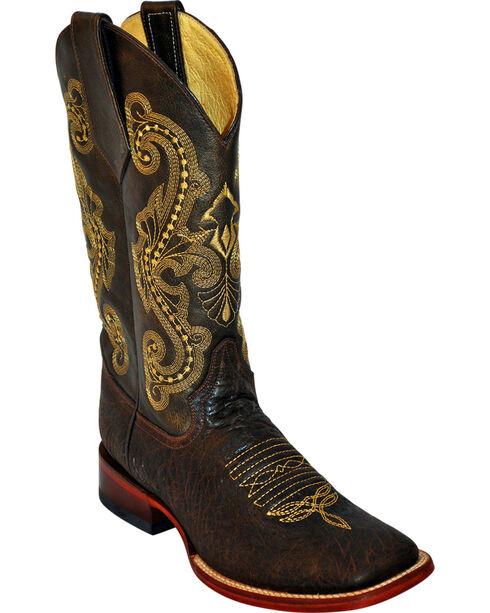 Ferrini Argentinian Bullhide Acero Cowboy Boots - Square Toe, Chocolate, hi-res