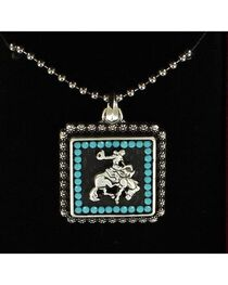 Lightning Ridge Bucking Bronco & Rider Beaded Edge Pendant Necklace, , hi-res