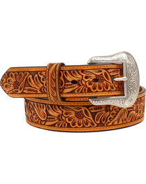 "Nocona 1 1/2"" Embossed Floral Belt, , hi-res"