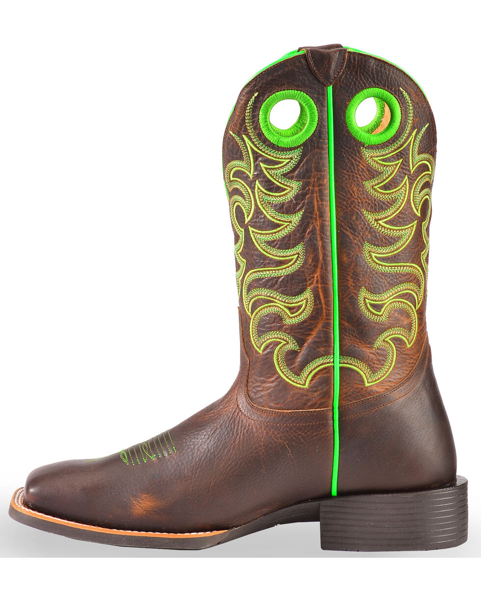 Cody James Xero Gravity Men's Haywood Neon Green Western Boots - Square Toe, Brown, hi-res