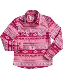 Cowgirl Hardware Girls' Aztec Print Snap Shirt, , hi-res