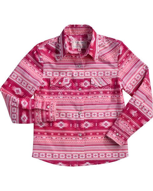 Cowgirl Hardware Girls' Aztec Print Snap Shirt, Pink, hi-res
