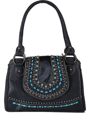 Shyanne® Women's Embroidered Hair-on Leather Handbag, Black, hi-res