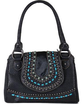 Shyanne® Women's Embroidered Hair-on Leather Handbag, Black, hi-res