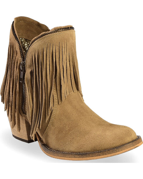 Dingo Women's JuJu Fringe Zip Booties, Brown, hi-res