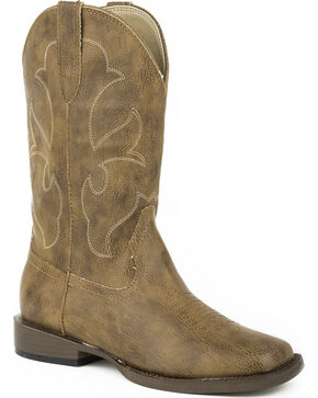 Roper Youth Boys' Cole Faux Leather Western Boots, Tan, hi-res