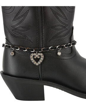 Shyanne® Women's Rhinestone Heart Boot Bracelet, Black, hi-res