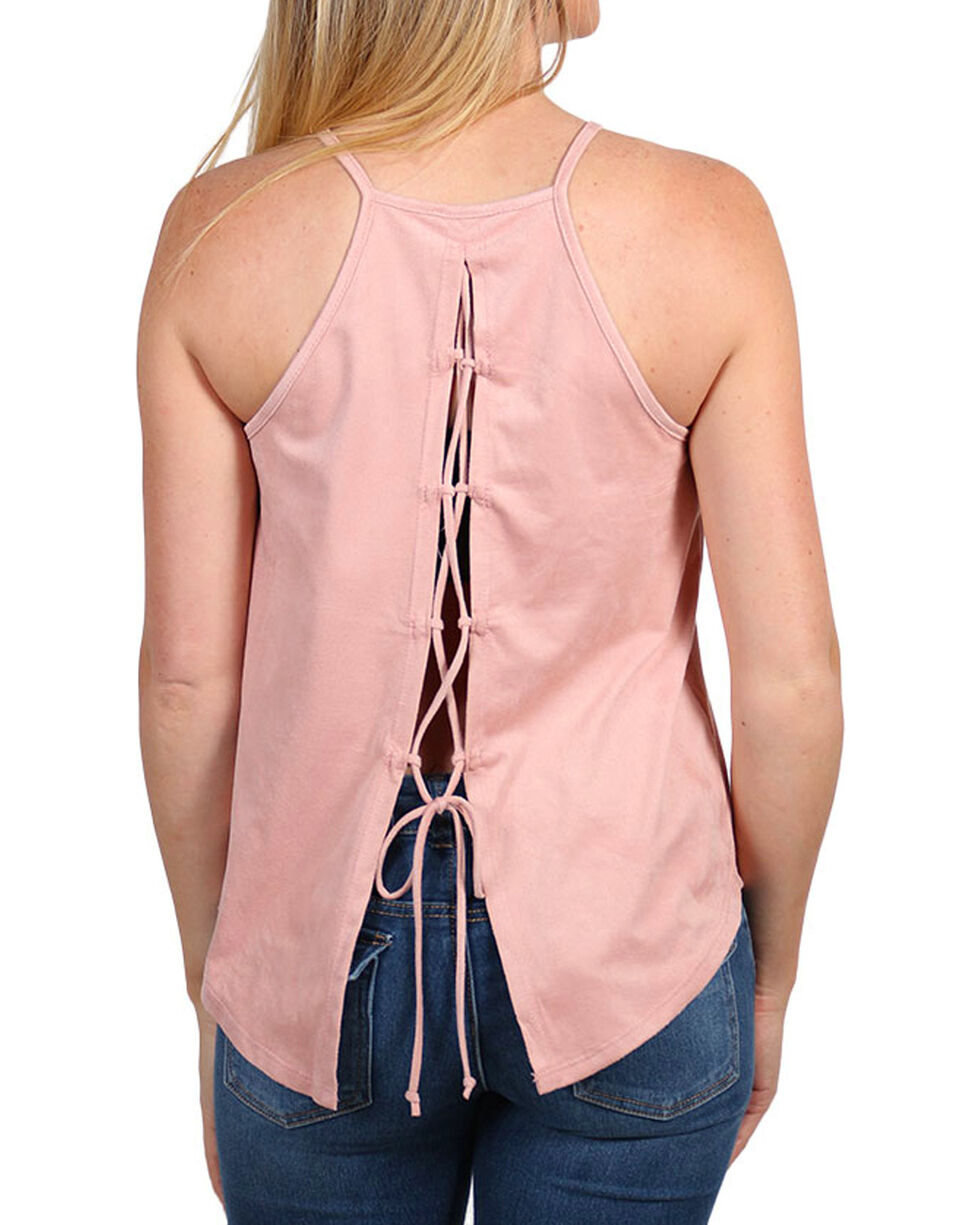 Moa Moa Women's Lace-Back Halter Tank Top, Pink, hi-res