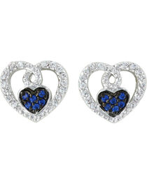 Montana Silversmiths Women's Curlicued Cerulean Heart Earrings, Silver, hi-res