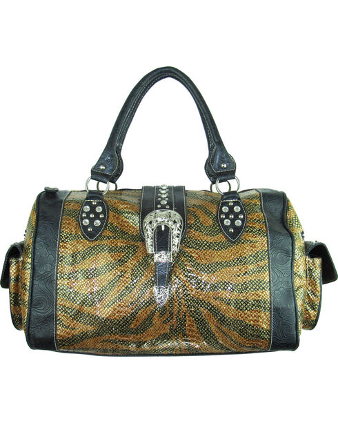Savana Women's Tooled Trim Duffle Bag, Brown, hi-res