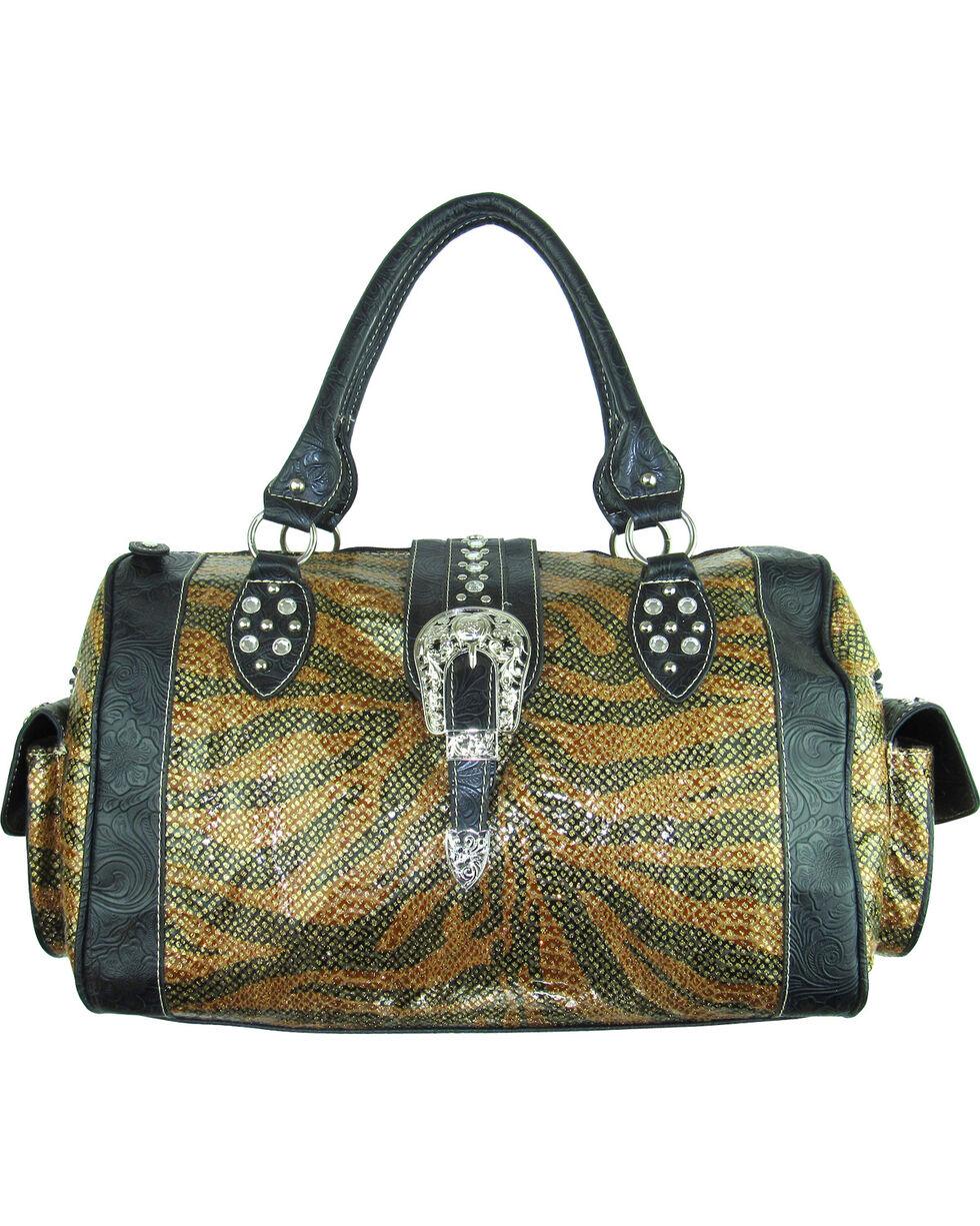 Savana Women's Tooled Trim Duffle Bag, Brown, hi-res